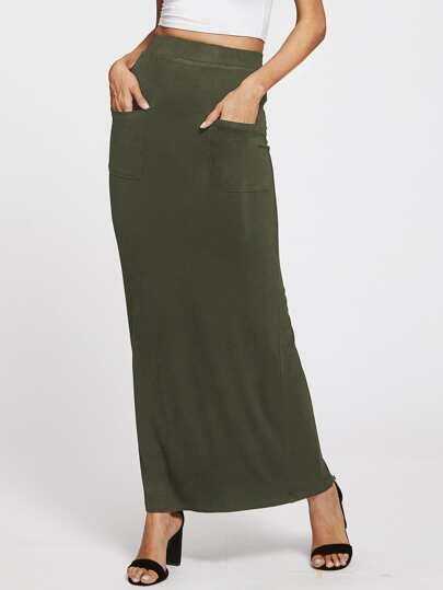Pockets Front Column Skirt