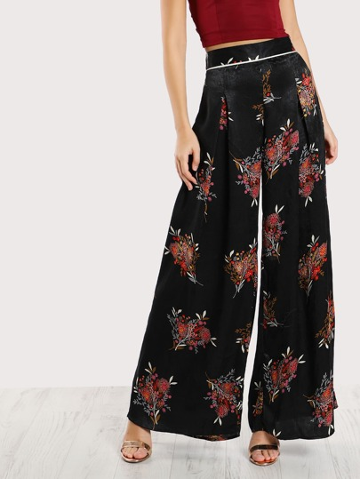 Floral Print Pleated Satin Pants BLACK