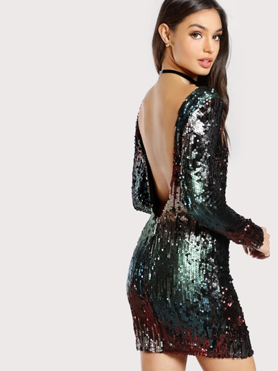 Sequined Low Back Long Sleeve Dress BURGUNDY OLIVE