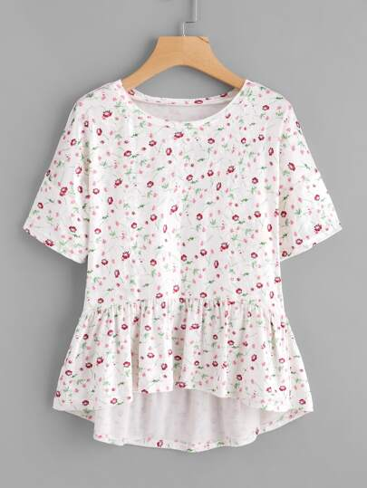 Calico Print Frill Hem High Low Tee