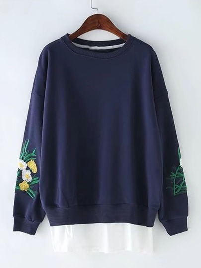 Embroidered Sleeve 2 In 1 Sweatshirt