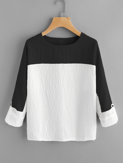 Contrast Panel Rolled Sleeve Blouse