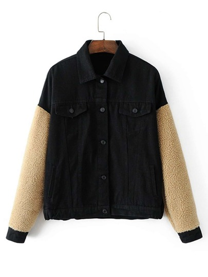 Contrast Lambwool Sleeve Jacket