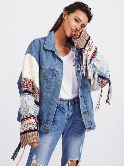Contrast Knit Sleeve Denim Jacket