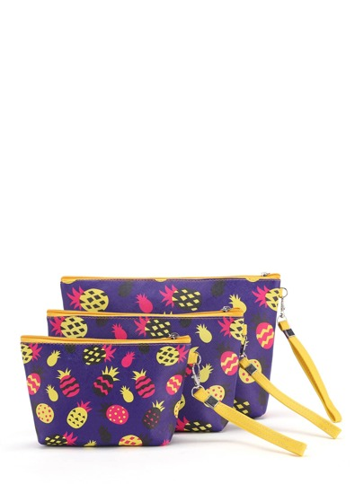 Pineapple Print Makeup Bag 3pcs