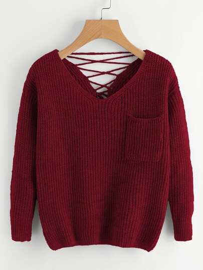 Suéter tejido chunky de espalda con cordón doble V