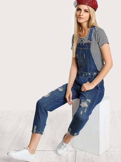 Distressed Denim Overalls DENIM