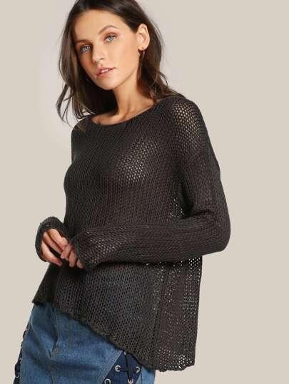 Crochet Long Sleeve Top OLIVE