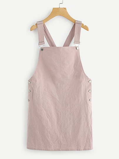 Button Side Solid Overall Dress