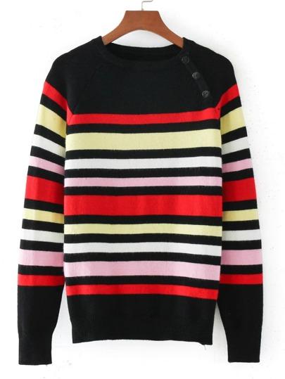Button Detail Raglan Sleeve Striped Knitwear