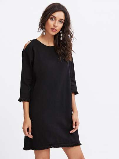 Open Shoulder Fray Hem Dress