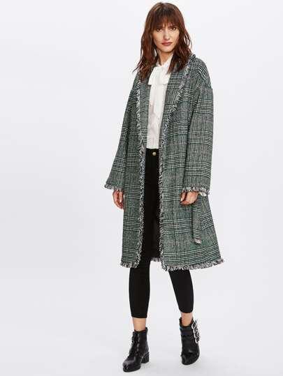 Fray Trim Checked Coat