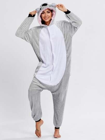 Button Through Koala Pj Jumpsuit