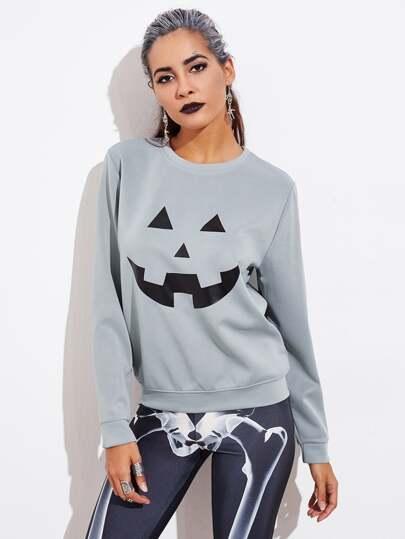 Halloween Pumpkin Print Pullover