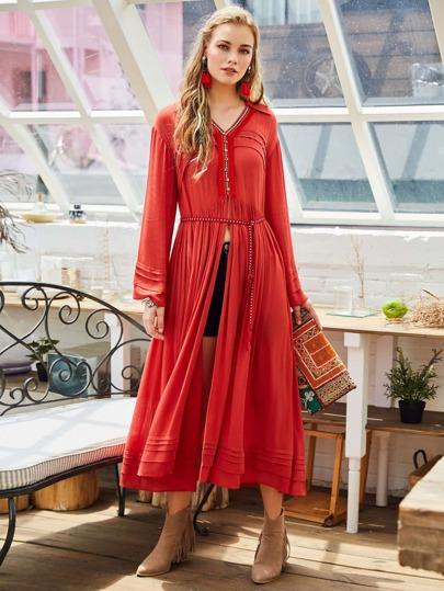 Fringe Trim Slit Waist Tiered Pleated Dress