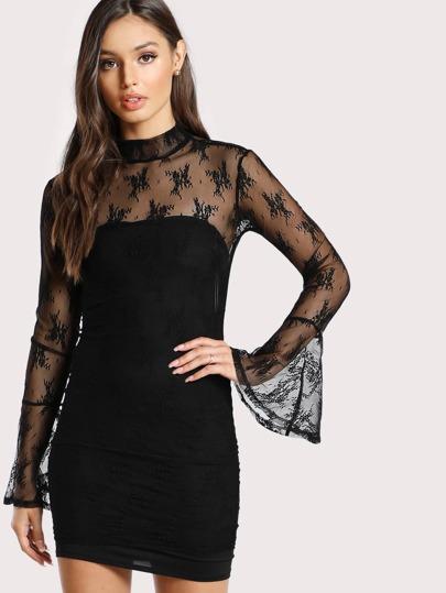 Lace Overlay Sheer Long Sleeve Dress BLACK