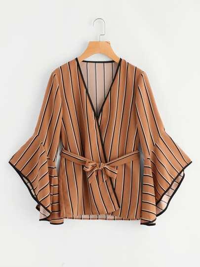 Kimono rayure avec lacet de taille avec manche cloche