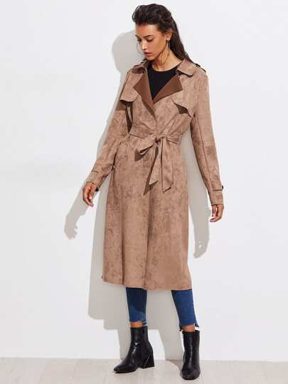 Split Back Suede Long Coat With Belt
