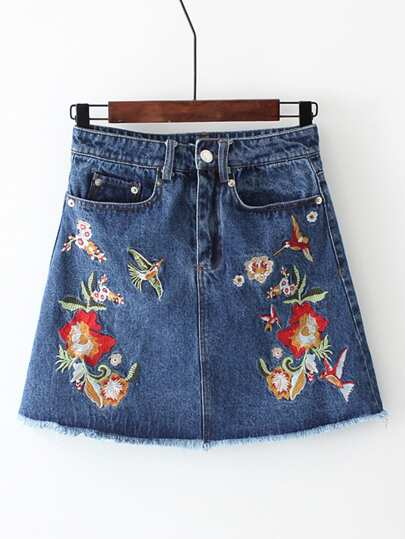 Flower Embroidery Frayed Edge Denim Skirt