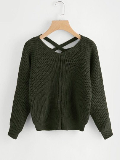 Pullover mit Kreuz und V-Rücken
