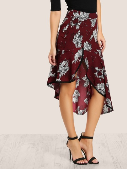 Contrast Binding Asymmetric Ruffle Hem Skirt