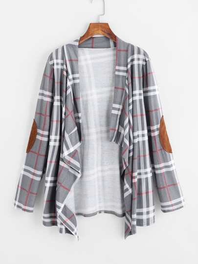 Elbow Patch Checked Ruffle Front Drape Coat