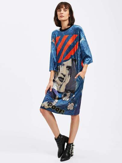 Graphic Print Velvet Tee Dress