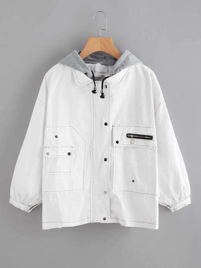 Contrast Stitching Hooded Denim Jacket
