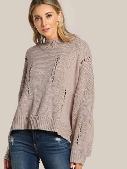 Braided Ribbed Sweater TAUPE