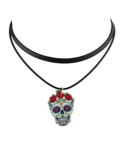 Colorful Fashion Skull Pendant Necklace
