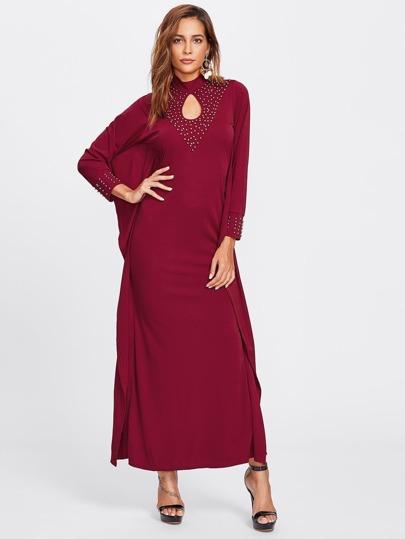 Rivet Keyhole Front Poncho Dress