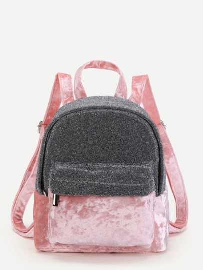 Two Tone Velvet Panel Backpack