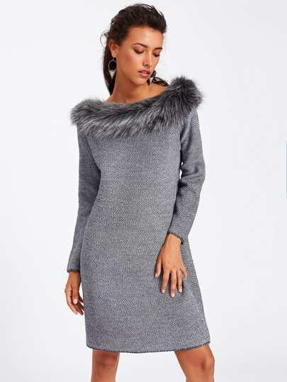 Faux Fur Neck Textured Sweater Dress