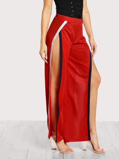 Side Split Jogger Pants RED