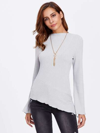 Fluted Sleeve Cut And Sew Asymmetric Ribbed Tee