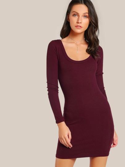 Long Sleeve Ribbed Bodycon Dress BURGUNDY