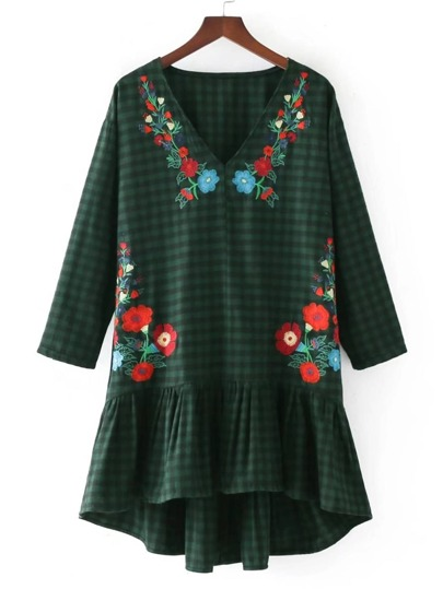 Floral Embroidery Drop Waist Gingham Dress