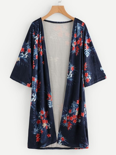 Floral Print Velvet Long Kimono