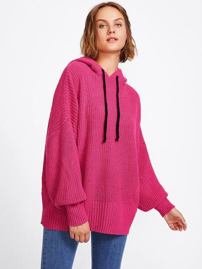 Ribbed Knit Oversized Hooded Sweater