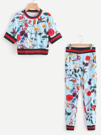 Tee rayure imprimé fleur random avec Pantalons