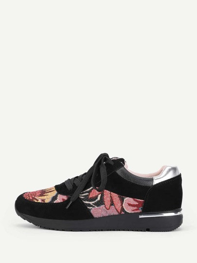 Flower Pattern Lace Up Trainers