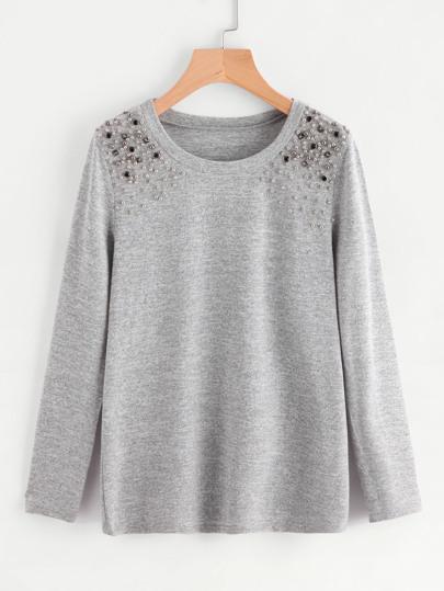 Tee-shirt martelé détail de perle