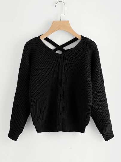 Suéter de espalda escote V con tiras cruzadas