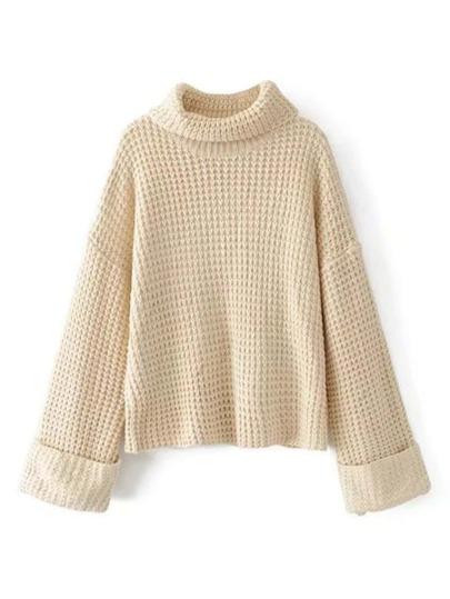 Turtleneck Drop Shoulder Waffle Knit Sweater