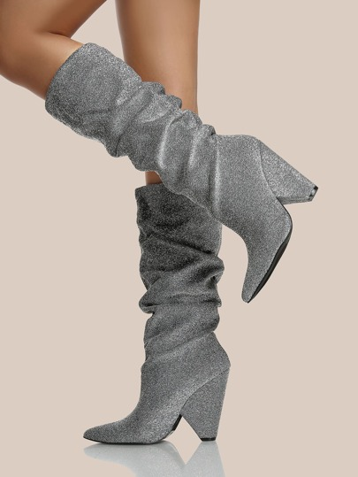Slouch Point Toe Heel Boots SILVER