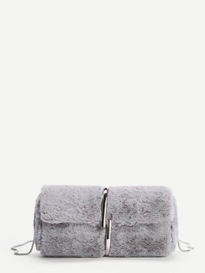 Faux Fur Chain Crossbody Bag