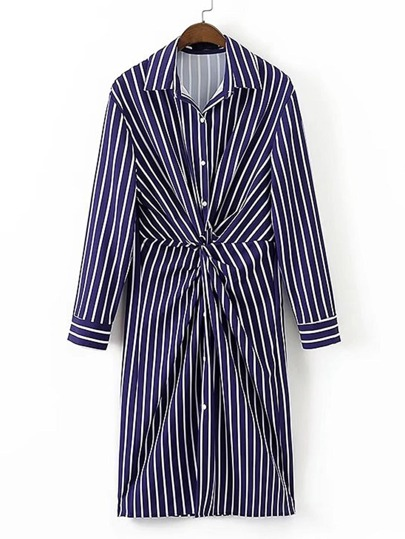 Twist Front Striped Shirt Dress