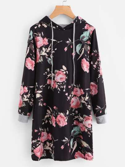 Vestido sudadera con estampado floral con capucha