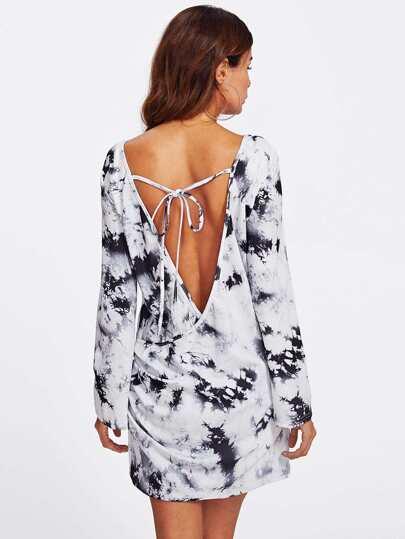 Overlap Detail Backless Tie Dye Dress