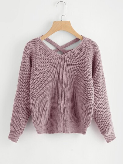 Pullover mit Kreuzgurte und V hinten